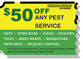 $50 off and pest service coupon Dawson & Daughters